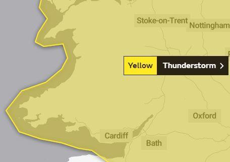 The Met Office has issued a warning of thunderstorms. PICTURE: Met Office