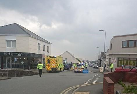 Ambulance and police in Milford Haven after accident