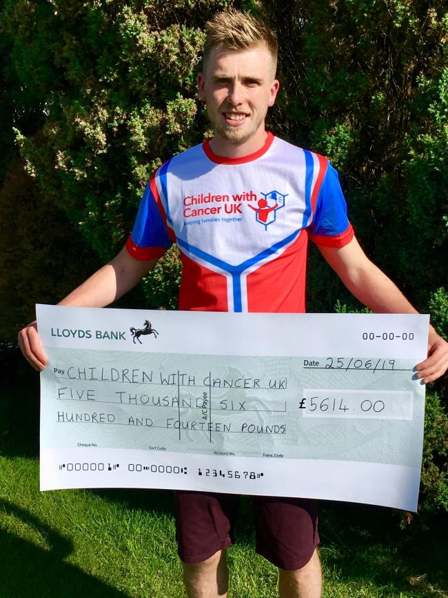 Llyr Tobias has raised more than £5,600 for Children With Cancer UK
