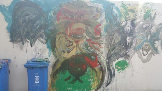 The graffiti painted in Charles Street. PICTURE: Dyfed-Powys Police.