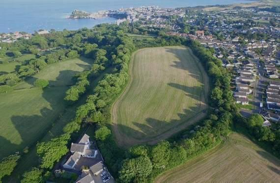An aerial view of Tenby's Brynhir site, where outline plans are now in for a 144-property development, including 102 social housing dwellings.