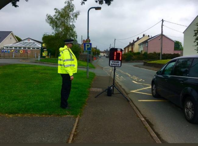 Speed checks being carried out at Cilgerran. PICTURE: Cardigan NP