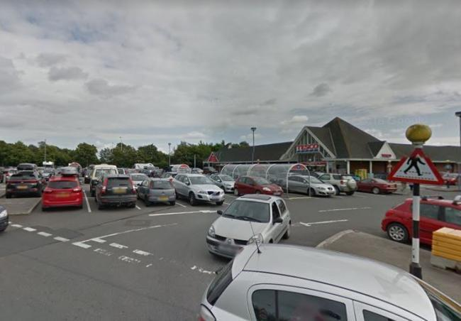 Cardigan's Tesco car park where a pensioner says he was confronted by a biker. PICTURE: Google Maps
