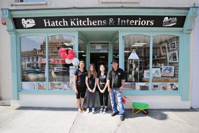 Sonia, Gwawr, Sian and Matthew Hatch outside their recently opened kitchen and interiors shop in Newcastle Emlyn. PICTURE: Barry Adams