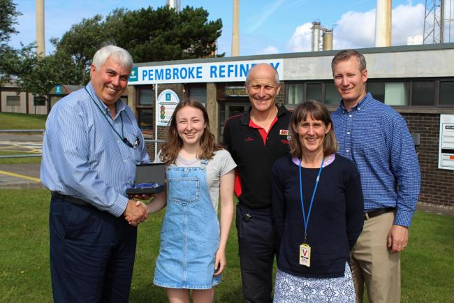 Valero Pembroke scholarship winner Megan Greenhalgh receives her award from Refinery General Manager Ed Tomp. Also pictured are Megan's parents James (Laboratory Manager) and Carol, and Director of Technical Services Joe Muehlbauer