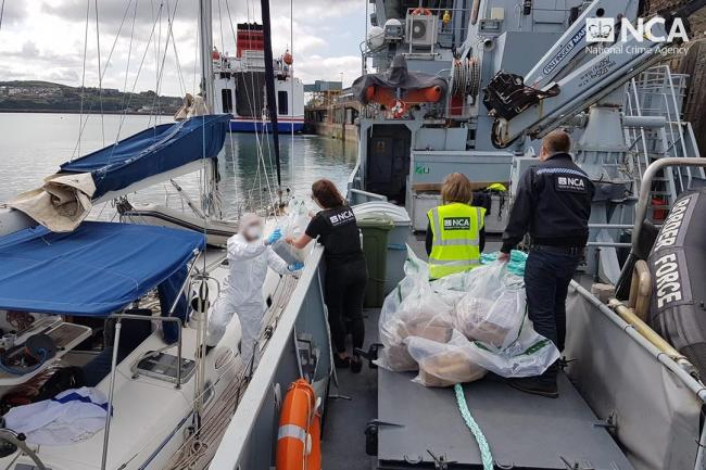 Cocaine worth millions of pounds was seized off the Pembrokeshire coast. PICTURE: National crime Agency