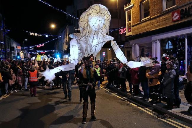 A giant mermaid lantern leads the parade at the Cardigan lantern festival last year. PICTURE: Barry Adams
