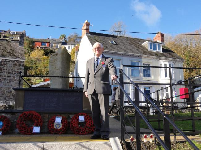 Arthur Walters at St Dogmaels War Memorial. PICTURE: Glen Johnson