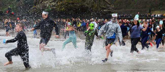 This year's Tenby Boxing Day Swim will be splashing out to raise awareness of Climate Change with its fancy dress theme. PICTURE: Gareth Davies Photography