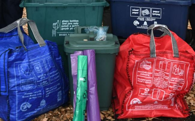 The new recycling bags and boxes being used in Pembrokeshire