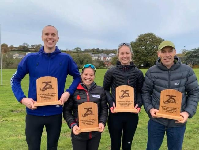 Winners of Cardigan Running Club Silver Anniversary Run John Collier, Nerys Jones, Beth Phillips and Glyn Price