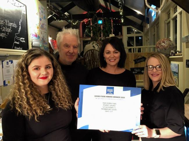 From left:  Amy Davies (manager), Andy and Liz Baker (proprietors), Jo Hodges (head chef)