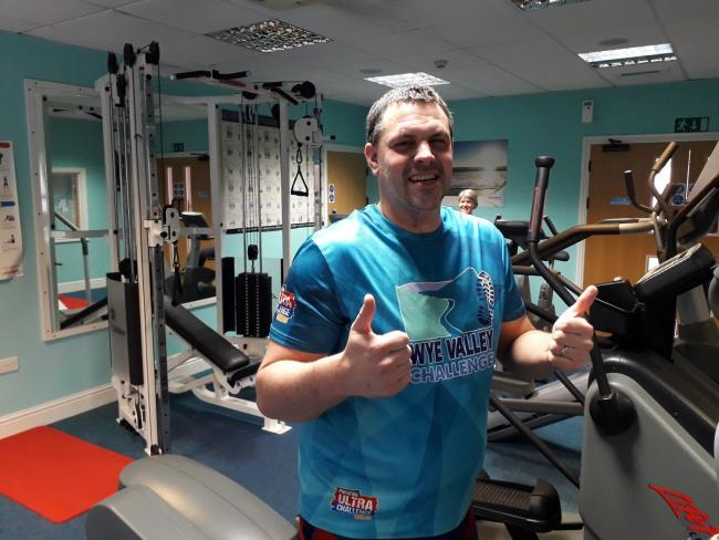 David Maund halfway through his 12-hour gym-swim challenge at Coracles for the Cardigan Oxygen Therapy Centre