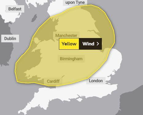 The Met Office has issued a yellow alert for gales on Thursday. PICTURE: Met Office