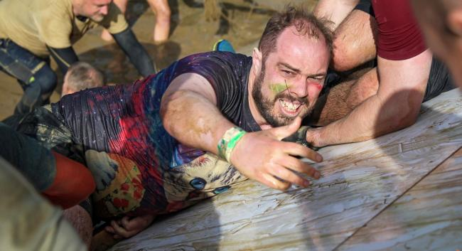 Gareth Riley during the Tough Mudder obstacle course