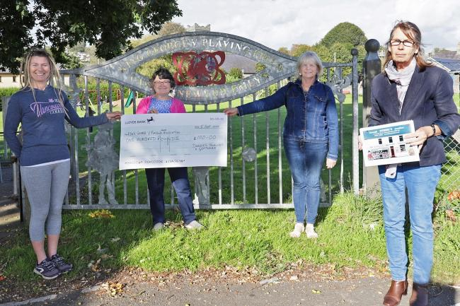 Jess O'Connell. King George V park manager, Wendy Wooldridge (secretary) and Cllr Maureen Webley recieving a cheque for £100 from Debbie Adams of Debbie's Jewellers in the town. PICTURE: Barry Adams