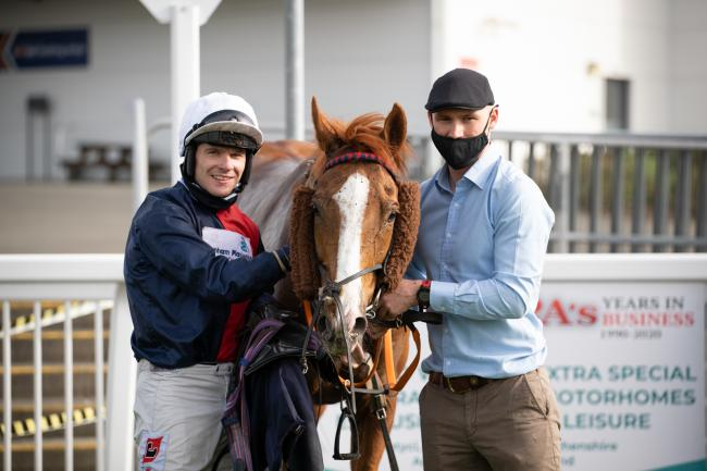 Amateur won the Potters Canter Carpet West Wales National at Ffos Las Racecourse, with jockey Jamie Bargary, for trainer John Flint. Pic: Ffos Las Racecourse