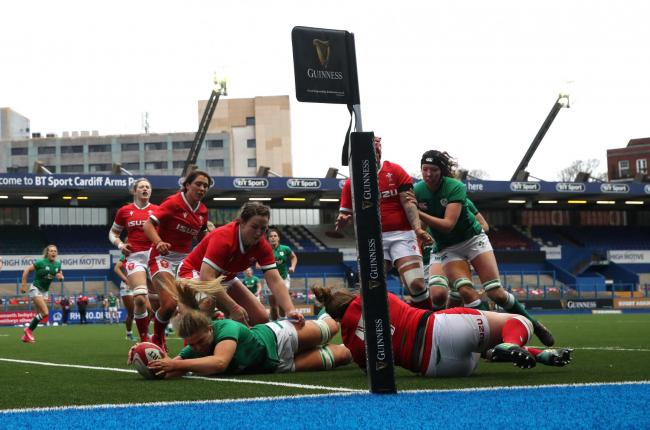 Ireland's Dorothy Wall scores a try during the Women's Guinness Six Nations match at Cardiff Arms Park, Cardiff. Picture date: Saturday April 10, 2021..