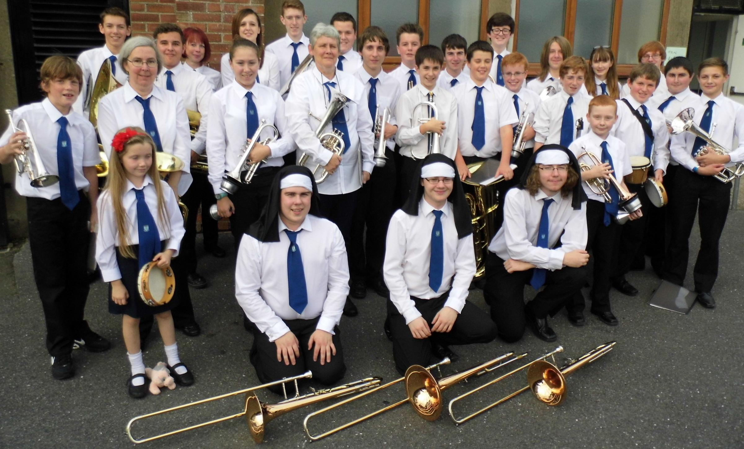 Goodwick Youth Band after their success at Burry Port in the West Wales Festival of Brass.  (1397341)