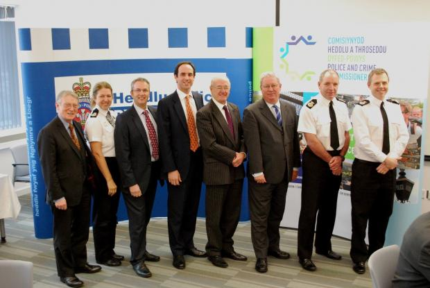 All-Wales Policing Group delegates in Carmarthenshire this week included, from left: South Wales Police and Crime Commissioner Alun Michael; Gwent Deputy Chief Constable Lorraine Bottomley; South Wales Chief Constable Peter Vaughan; Dyfed-Powys Police and