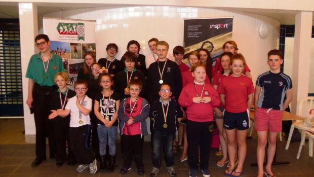Pupils who took part in the Pembrokeshire Schools disability swimming gala at Fishguard Leisure Centre last week. (3726638)
