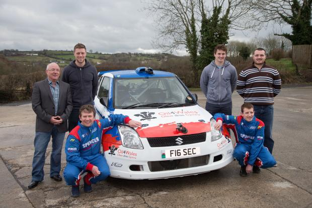 Jamie Jukes sponsorship - see Anwen Wales Internationals Rhys Priestland, Ken Owens and Jonathan Davies with Jamie Jukes (front left) and his co-driver Jamie Morgan and Colin Owens from Oil4Wales  Emyr Rhys Williams (3740488)