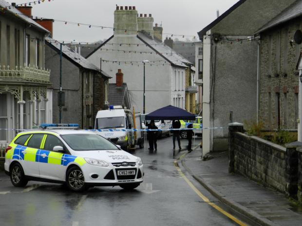 Police at the scene in Llandysul on Monday morning. (4357392)