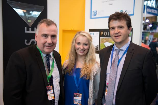 Former Ysgol Uwchradd Aberteifi pupil Ceylon Jukes with teacher Emyr James and MP Mark Williams