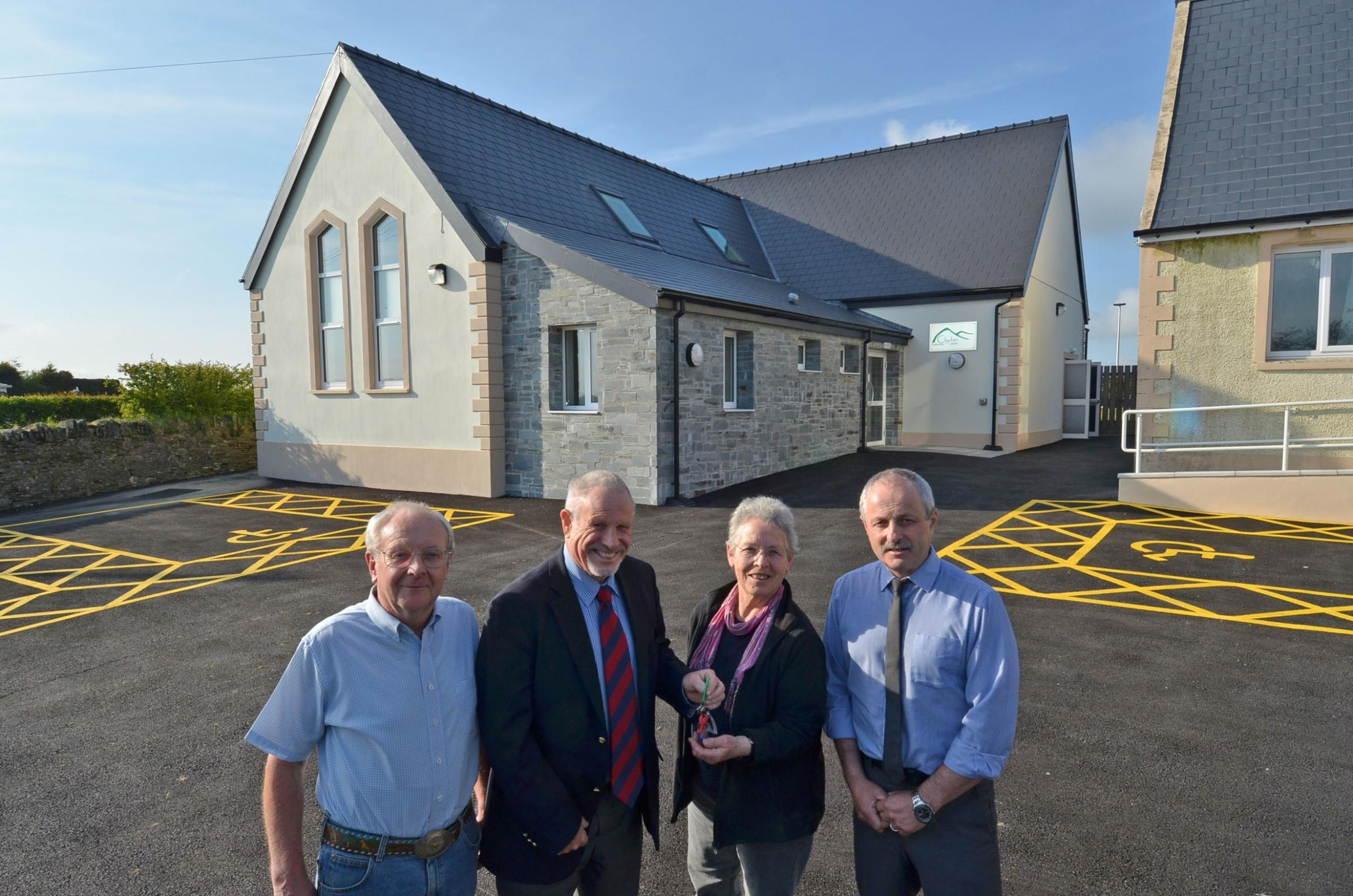 Pictured at the opening of the new Canolfan Clydau in Tegryn are (left to right) committee member Mike Vigars, Councillor David Pugh, Annabel Stewart, committee member, and Rod Bowen, committee chairman.  (6278777)