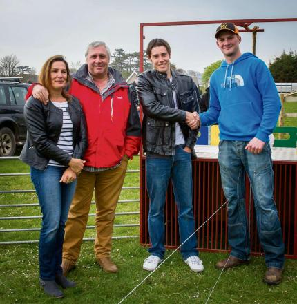 Karen Morgan, Wayne Morgan, Daniel Morgan from Pembrokeshire Engineering with Richard Jones Chairman of the Tenby Dog Racers receiving the new traps on behalf of the Dog Racers.