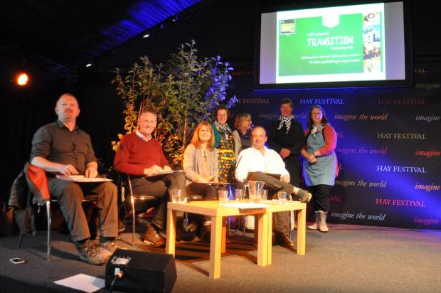 Dragons of the Future Dragon Den Competition at this year's Hay Festival, left to right is: Sustainability consultants Hywel Lloyd and Nick Miller,  Amelia John, Head of Fairer Futures Division at Welsh Government and Justin Albert Director of Natio