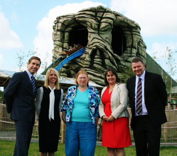 Aspro COO David Lopez Soriano Oakwood's Clare Stansfield Minister Edwina Hart Aspro UK Director Sue Elaiho and Oakwood's Dominic Jones in Neverland