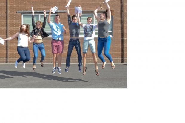 Jumping with joy are pupils of Ysgol Dyffryn Teifi after their GCSE resultsFrom left - Lleucu Mains, Siriol Thomas,  Tomos Rees,Thomas Jones, Tomos Green and Erin Morgan,Pic Tim Jones