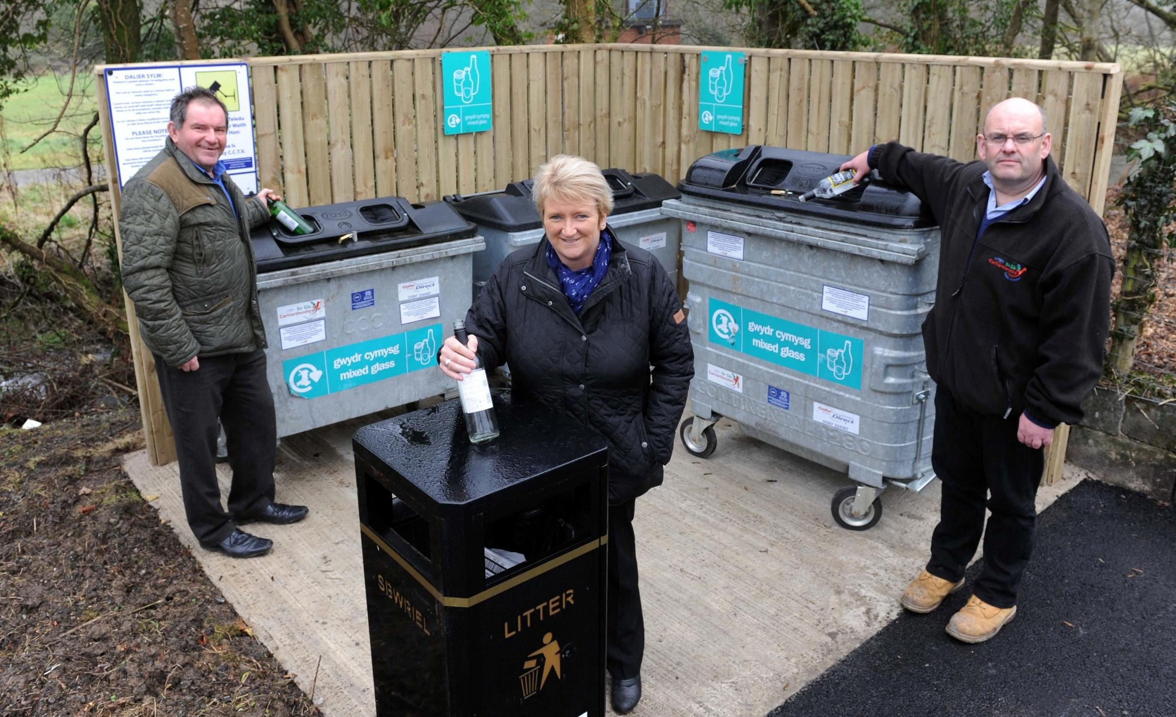 Pictured L-R: CCC Waste officer (infrastructure) Mike McCauley; Cllr Linda Evans, CCC Environmental Inspector Mark Cotterell at the new bottle bank at Pencader. Pic Jeff Connell 23/12/14 (15171855)