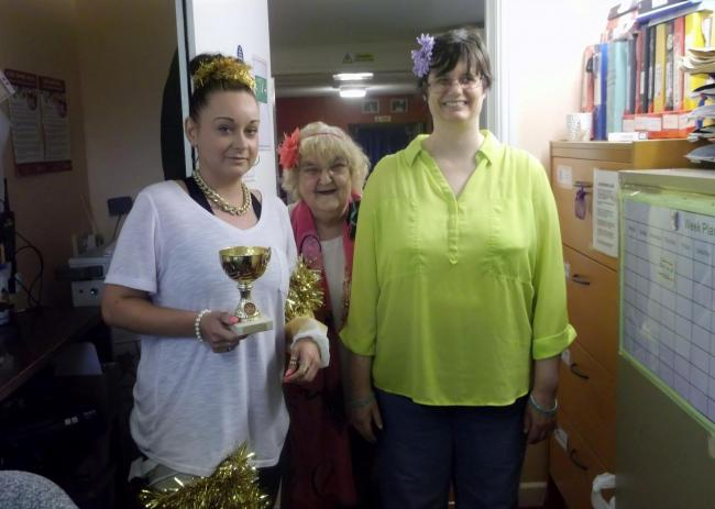Caryl Mayes, support worker at the Faerdre tea party with Megan Jones and Sarah Gilbert (41435165)