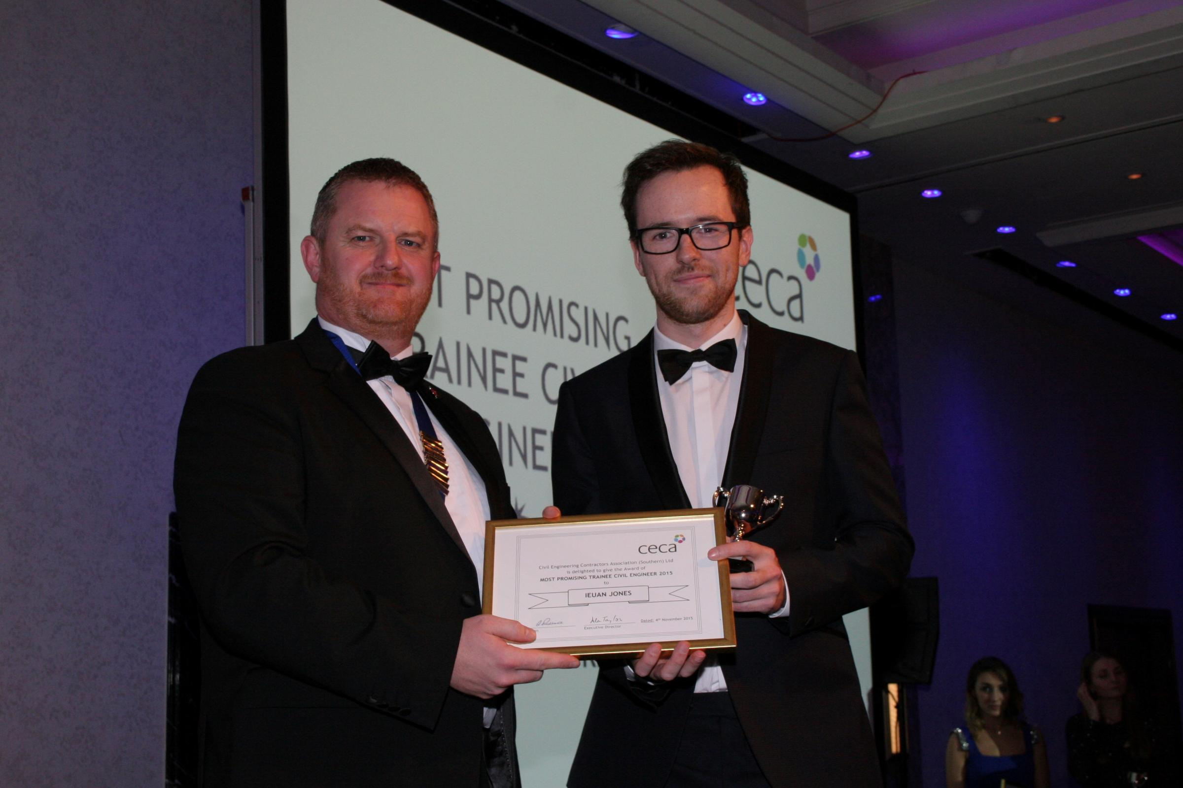 Ieuan Jones from Llandysul has been named the Most Promising Trainee Civil Engineer in the prestigious Civil Engineering Contractors Association (CECA) Southern awards programme (47717061)