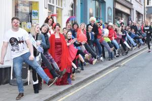 Cardigan mayor Clive Davies leads around 160 people through the streets in a conga in aid of Comic Relief