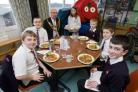 Chairman of Ceredigion County Council, Cllr Odwyn Davies with pupils of Aberaeron Junior School launching the Appetite for Life project.