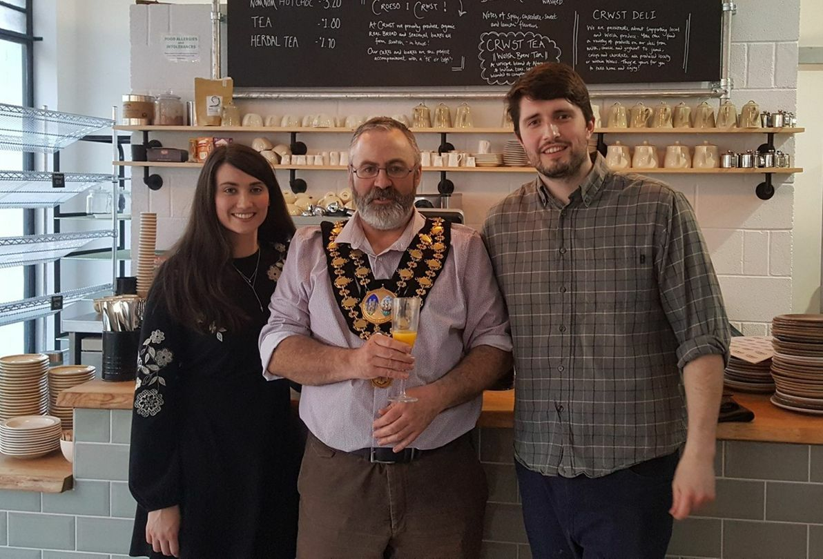 Catrin Parry Jones, Mayor of Cardigan Cllr Richard Jones and Osian Wyn Jones at the official launch of Crwst in Cardigan. PICTURE: Anwen Francis