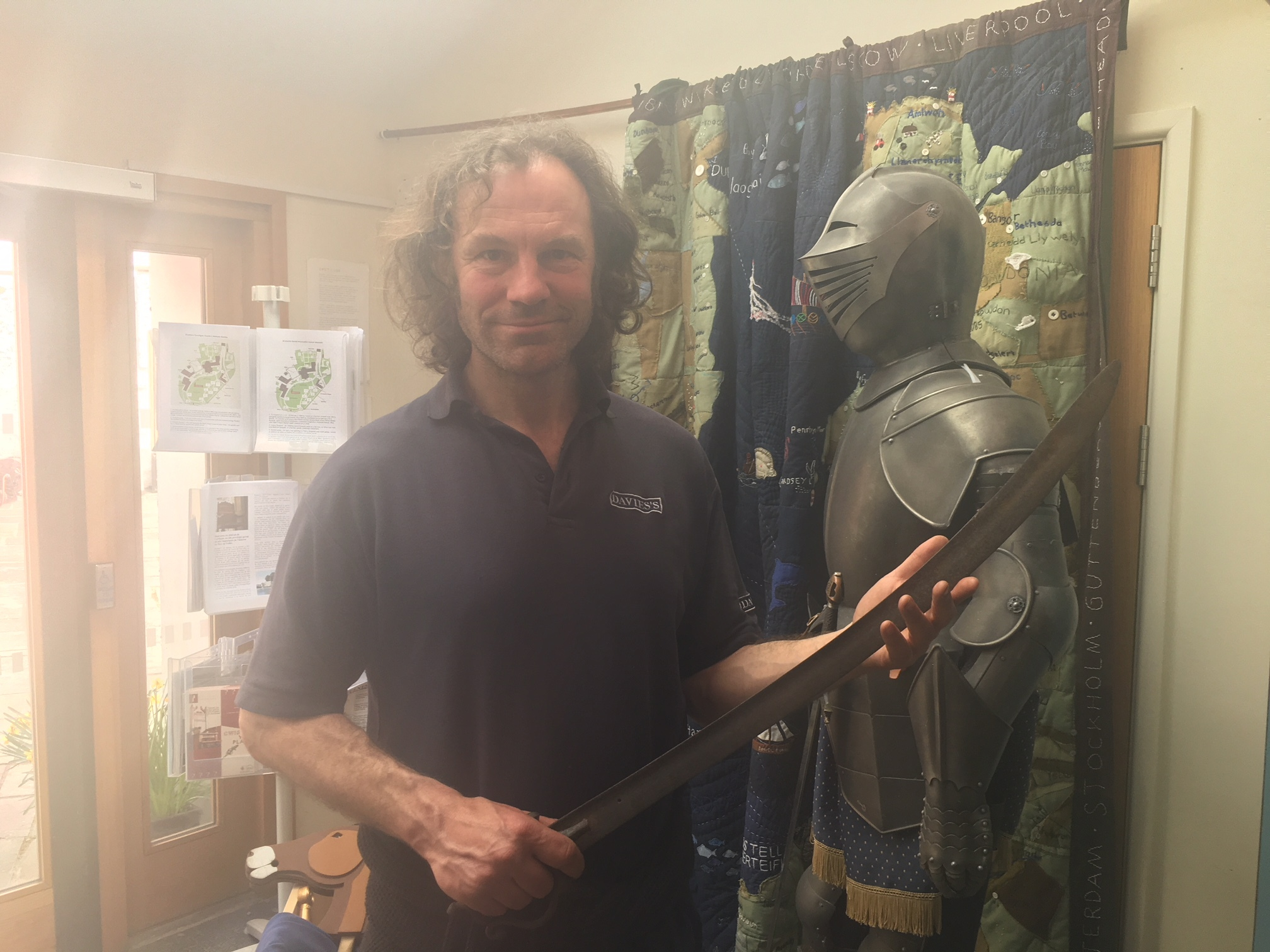 Dean McNeil Jones with the sword that he has returned to Cardigan Castle
