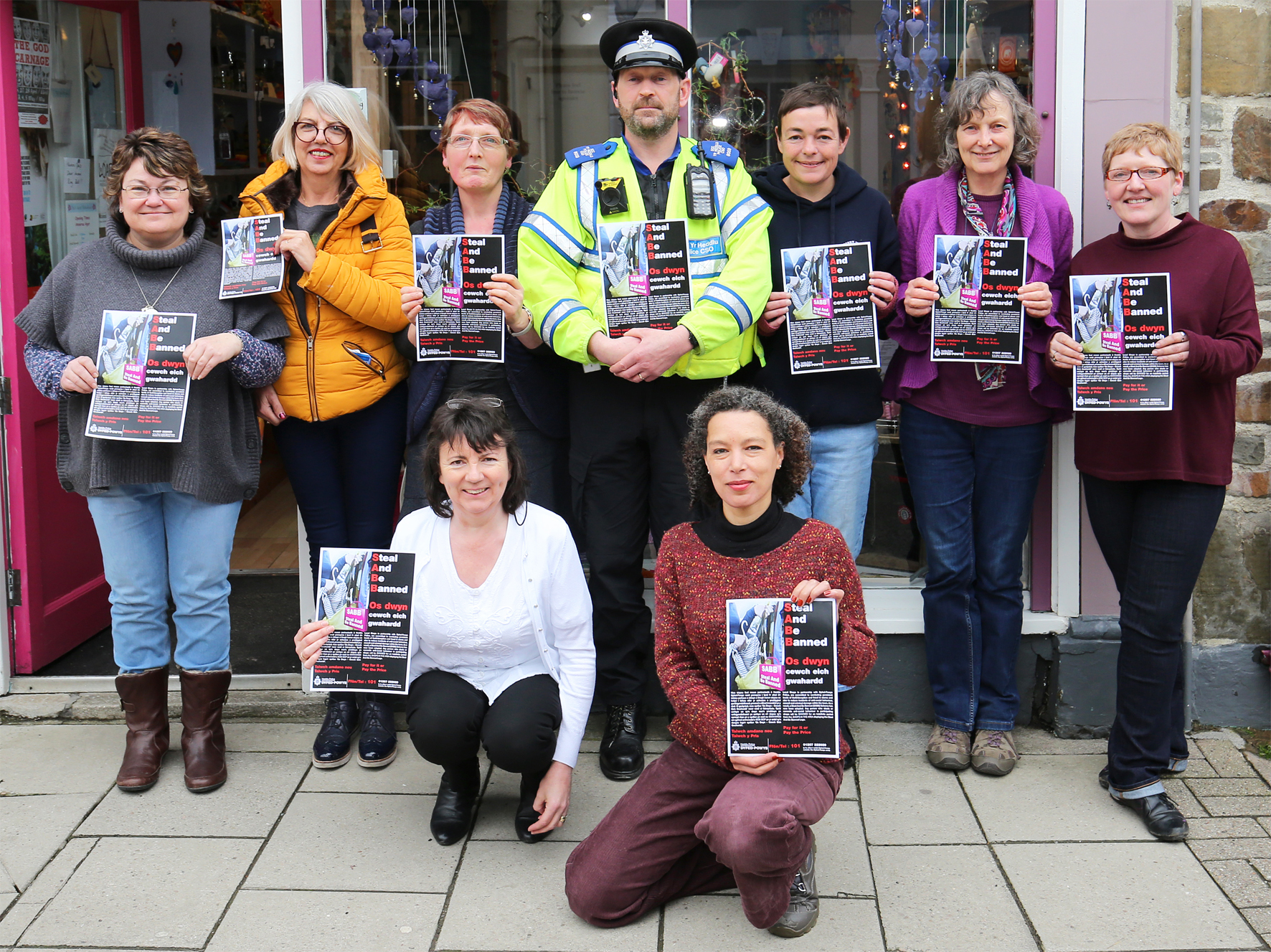 PCSO Jeff Kedward with members of Newcastle Emlyn Traders' Association who are part of the Steal and Be banned scheme that is now up and running. PICTURE: Barry Adams