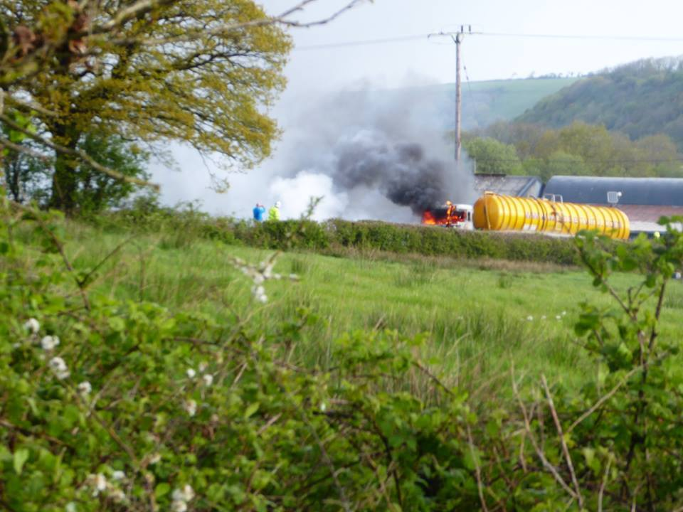 The tanker fire on the A487 at Llanarth. PICTURE: Lyn Rowland