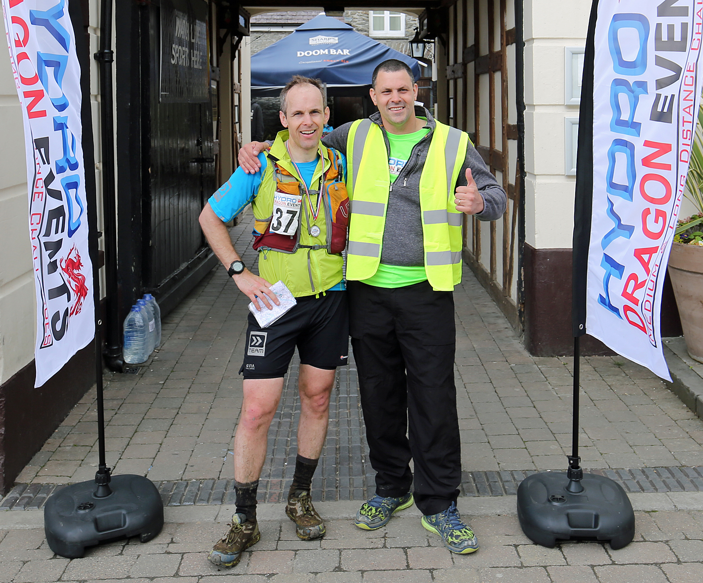 First to the finishof the Hydro Dragon event was Gary Davies from Cardiff, pictured with David Maund, event organiser. PICTURE: Barry Adams