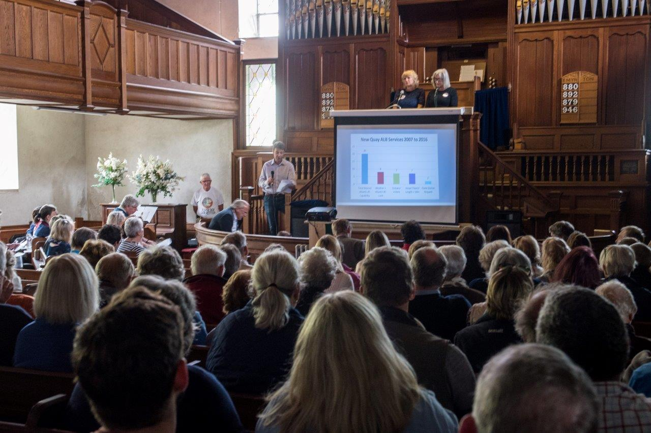 The packed Ceredigion Lifeboat Campaign meeting at New Quay's Tabernacle Chapel