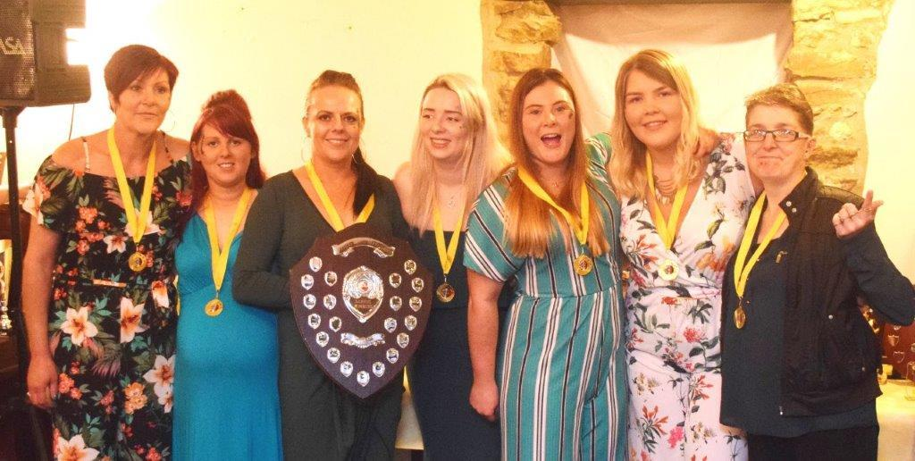 Ladies League champions Tafarn Yr Oen (l to r) Caran, Jane, Tracy (captain), Clowey, Keilly, Jemma and Tanya