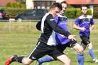 Magpies goal scorer Llion Williams in Cardigan Town's 2-1 victory over Cilgerran PICTURE: Julie John