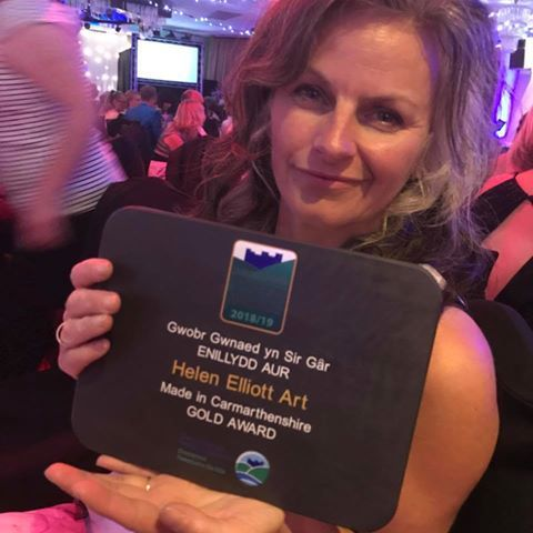 Newcastle Emlyn artist Helen Elliott has won the Gold Award in Carmarthenshire Tourism Awards' new Made in Carmarthenshire category