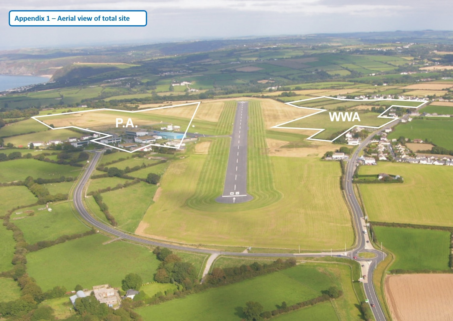 An aerial view of the development site at West Wales Airport taken from its recent planning application.