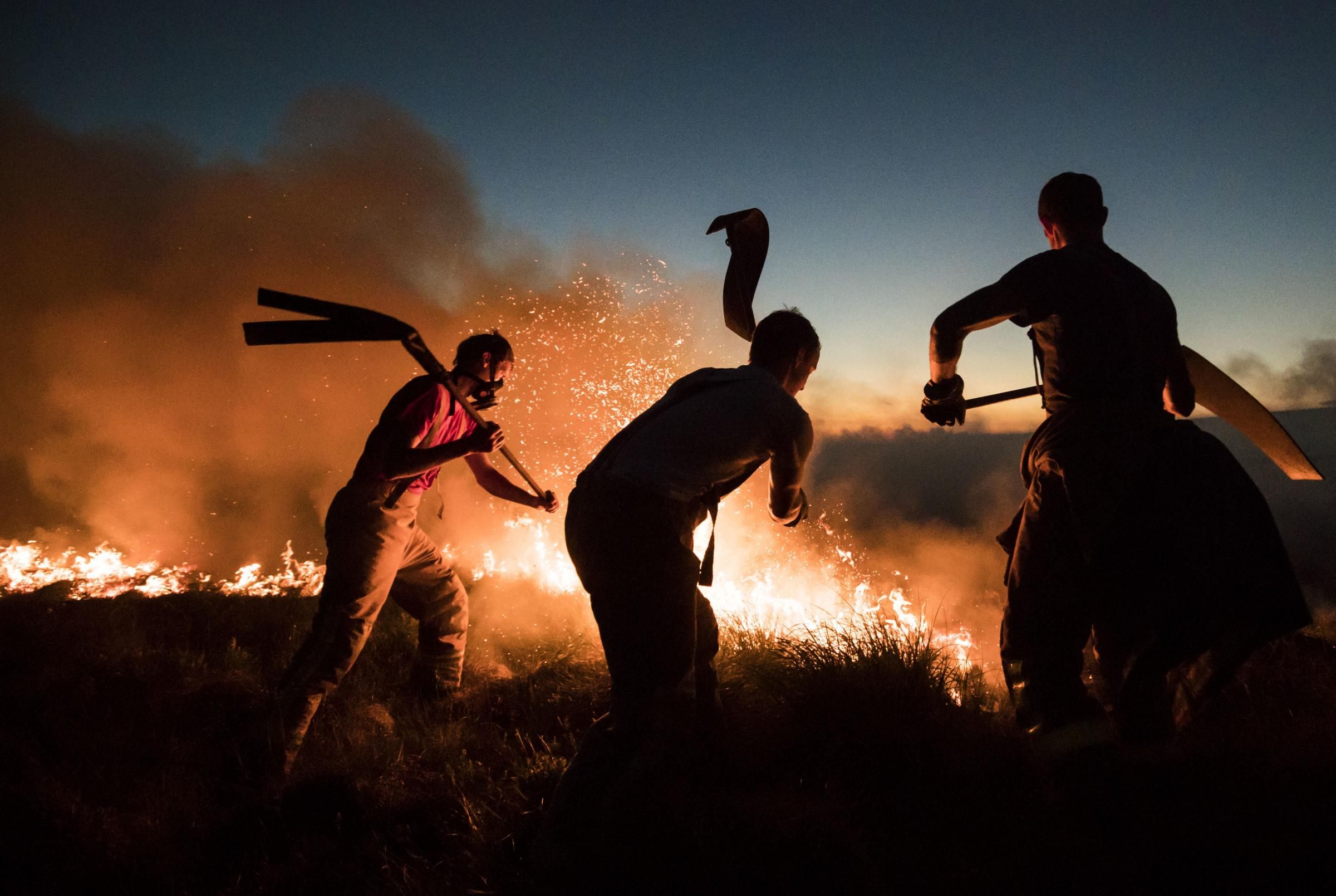 Firefighters tackle a wildfire. PICTURE: PA Wire