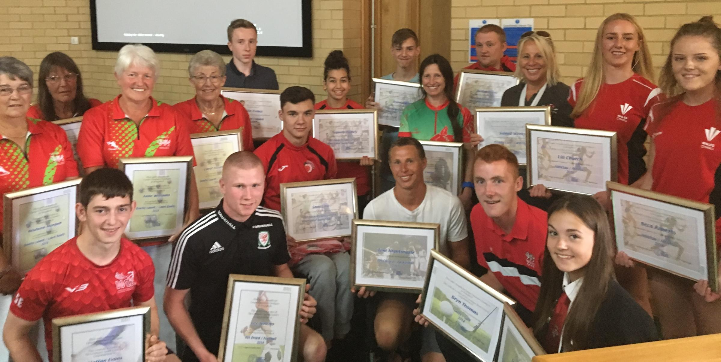 Ceredigion sports people who were awarded a commemorative certificate from the Ceredigion Sports Council in recognition for becoming internationals and representing Wales for the first time in the past year